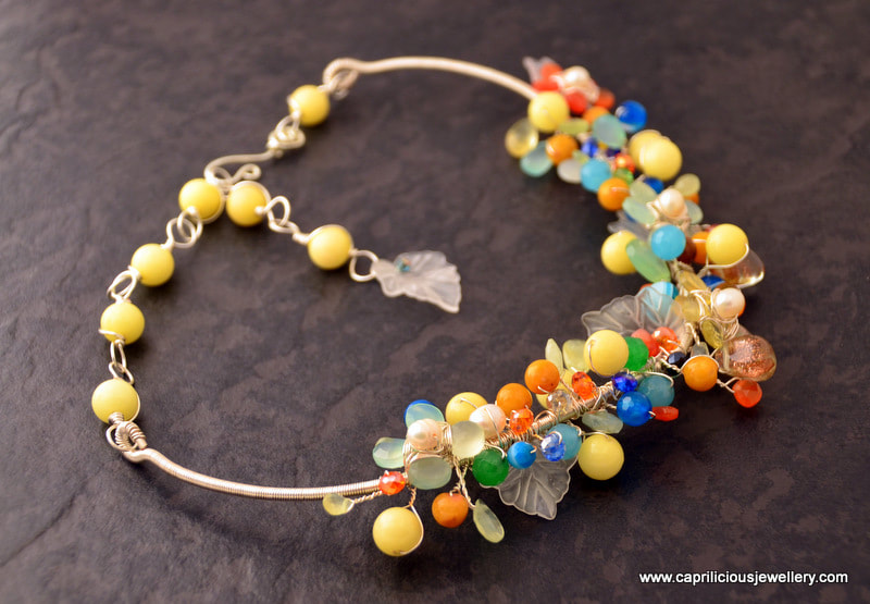 Wire and semiprecious bead floral necklace by Caprilicious Jewellery