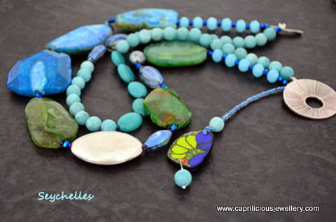 Seychelles - green and blue agate slab nugget necklace with blue jade in two strands by Caprilicious Jewellery
