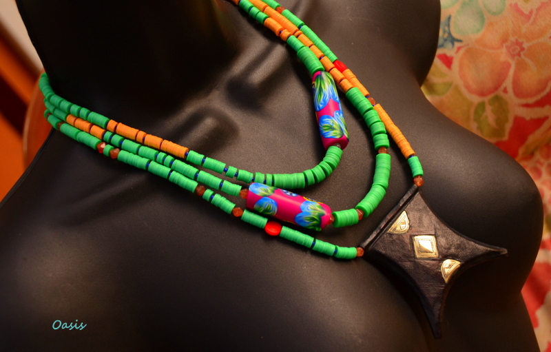 Berber Tcherot Necklace with vinyl trade beads from Africa and polymer clay beads by Caprilicious Jewellery