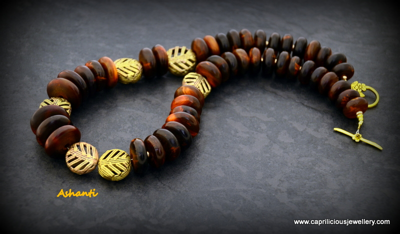 Horn and African brass beads by Caprilicious Jewellery
