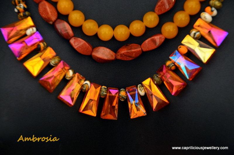 AB coated crystals, yellow jade and golden sunstone and howlite - Ambrosia by Caprilicious Jewellery