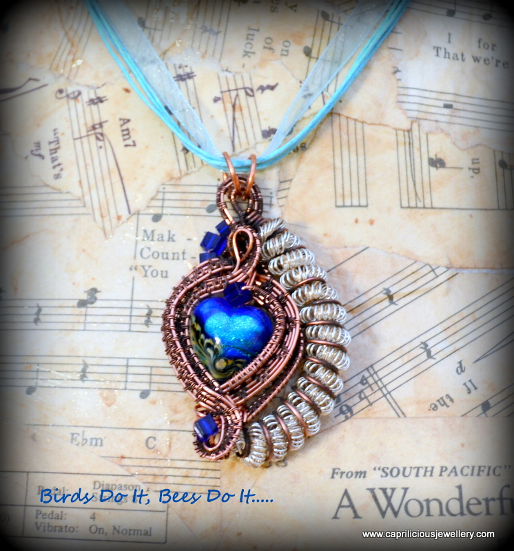 Lampwork glass and wire work pendant by Caprilicious Jewellery