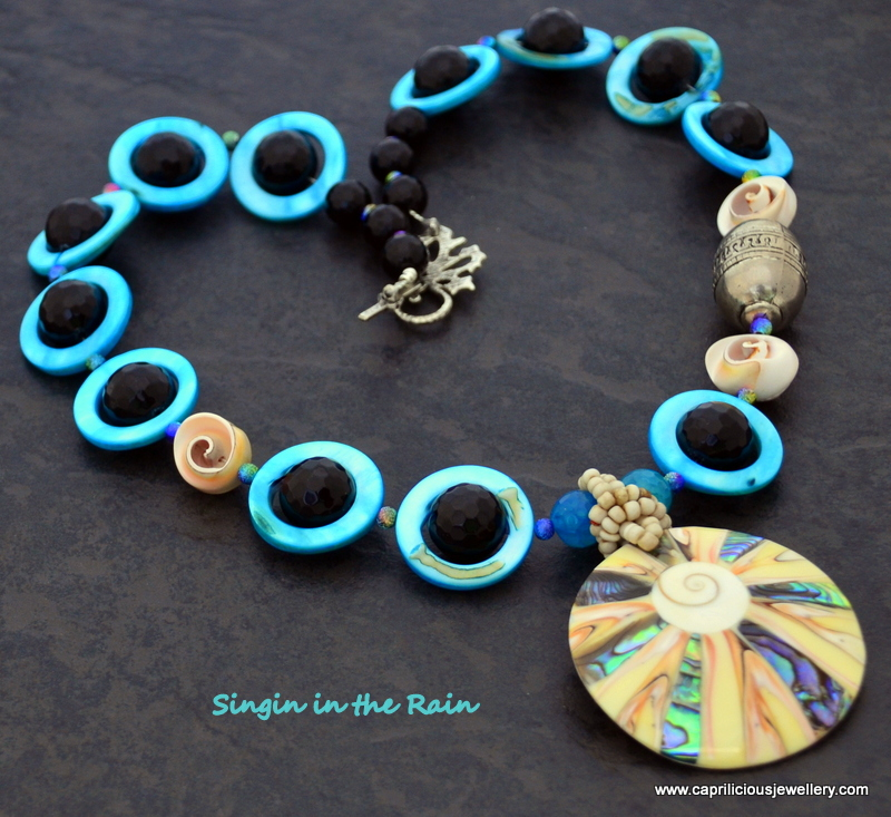 Singin' in the Rain - shell and onyx necklace by Caprilicious Jewellery