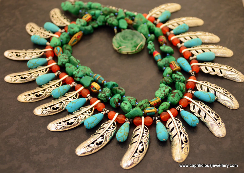 Native American vibe, boho necklace, turquoise and carnelian, Nepalese beads, necklace by Caprilicious - Dancing Queen