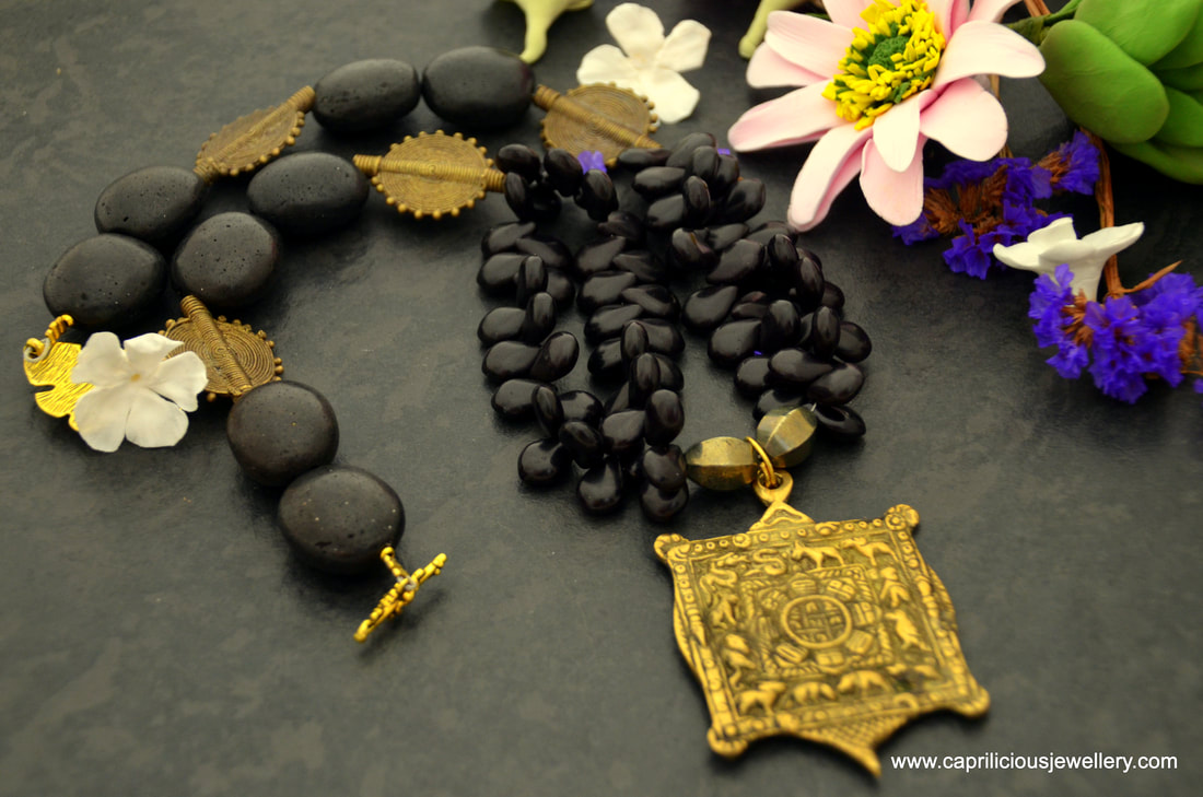 Chinese zodiac, astrological jewellery, almanac, basalt, black howlite, black and gold necklace