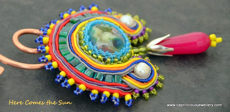Here Comes the Sun, druzy, soutache and bead work pendant on a copper torque necklace by Caprilicious Jewellery