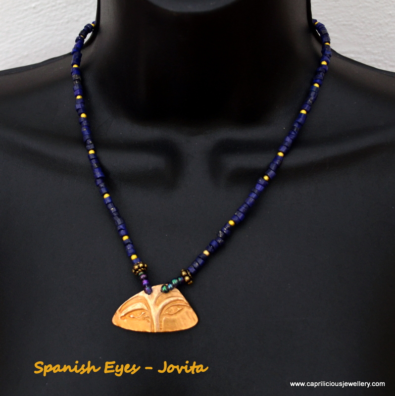 Jovita - Bronze clay pendant and lapis necklace by Caprilicious Jewellery