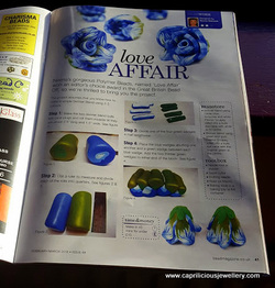 Polymer clay flower tutorial in Bead and jewellery magazine by Caprilicious Jewellery