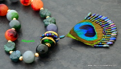 Peacock feather and Indian Agate necklace from Caprilicious Jewellery