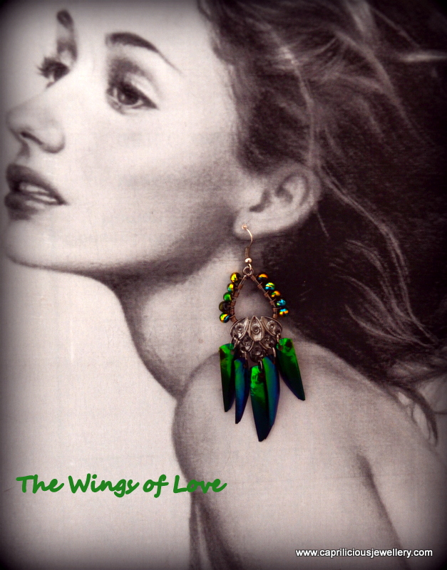 Jewel Beetle wing earrings from Caprilicious Jewellery