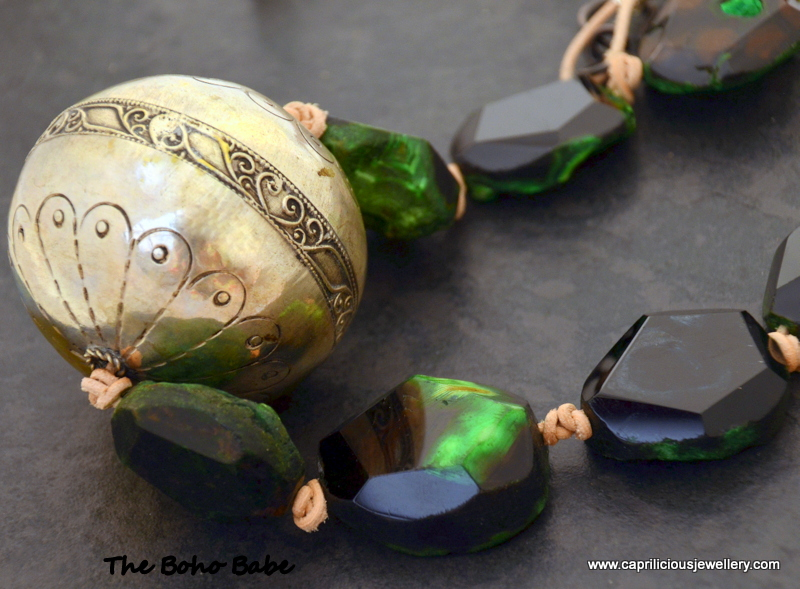 The Boho Babe - Green Agate and a Moroccan bead by Caprilicious Jewellery