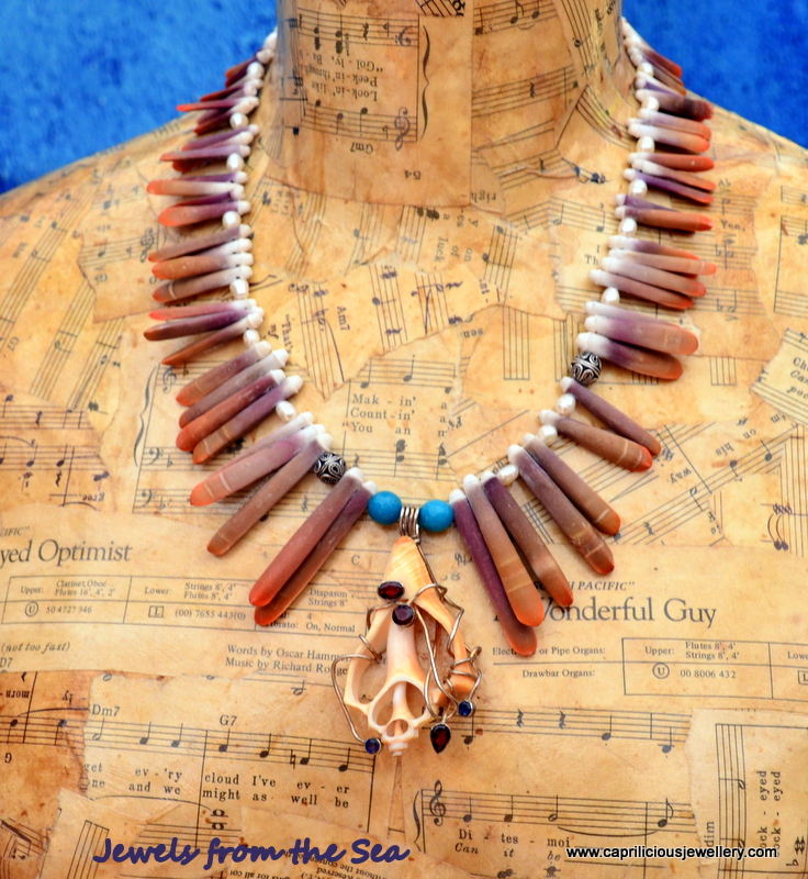 Conch shell and sea urchin spine necklace from Caprilicious Jewellery
