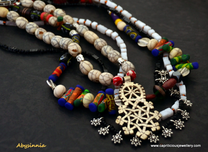 Multistrand colourful necklace with a Coptic Cross by Caprilicious Jewellery