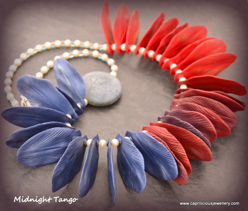 Polymer clay faux textile petal necklace by Caprilicious Jewellery
