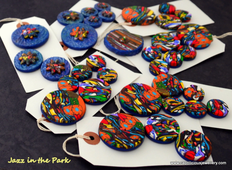 Jazz in the Park - polymer clay buttons by Caprilicious Jewellery