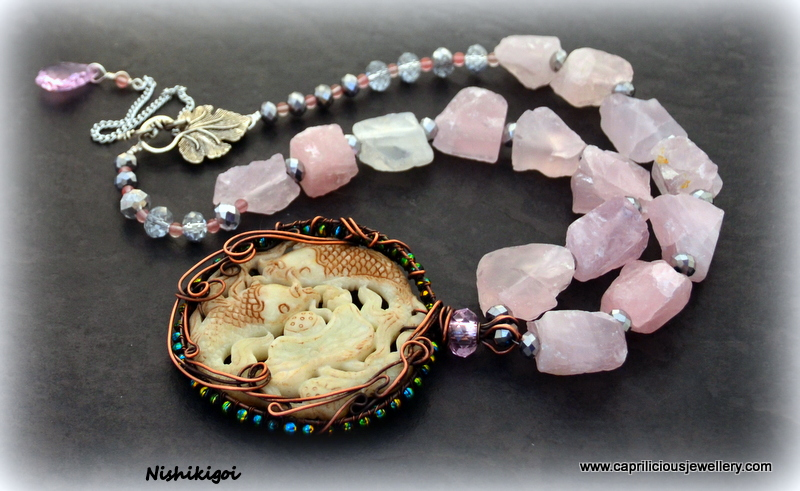 Chinese Koi carp pendant and rose quartz nugget necklace from Caprilicious Jewellery