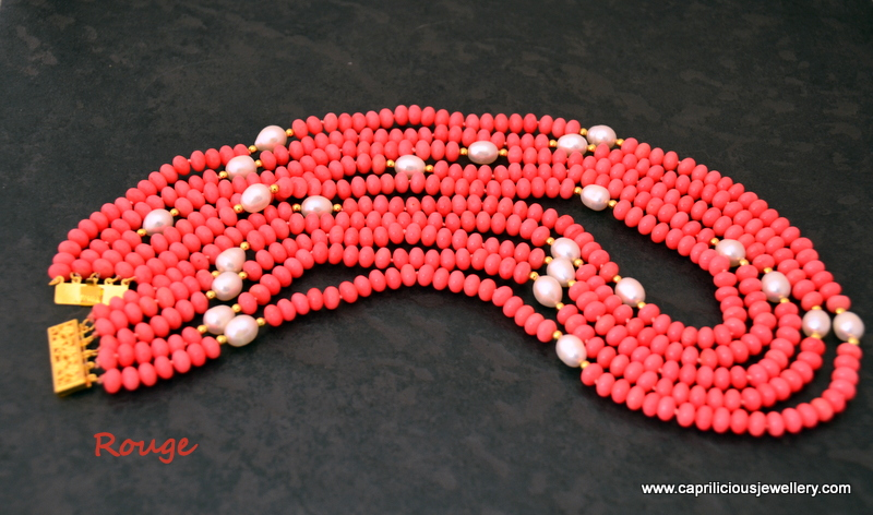 Rouge - coral and pearl multistrand necklace by Caprilicious Jewellery