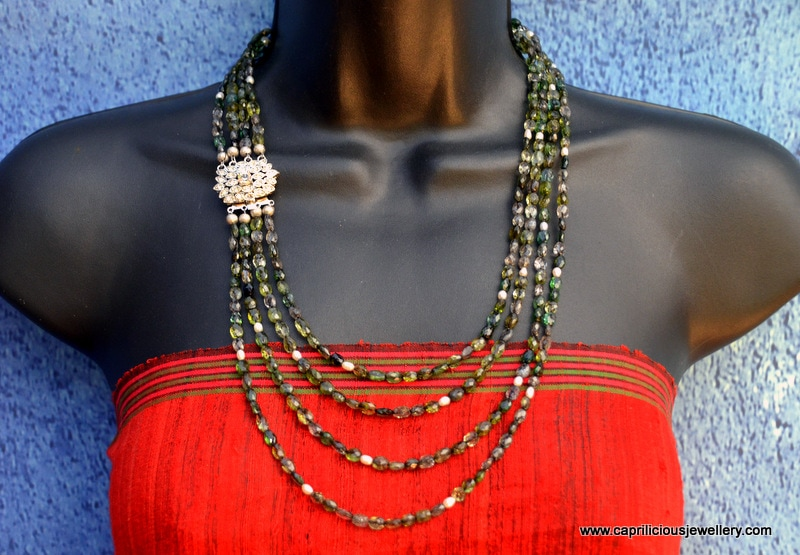 Multistrand tourmaline and pearl necklace with a diamante clasp by Caprilicious Jewellery