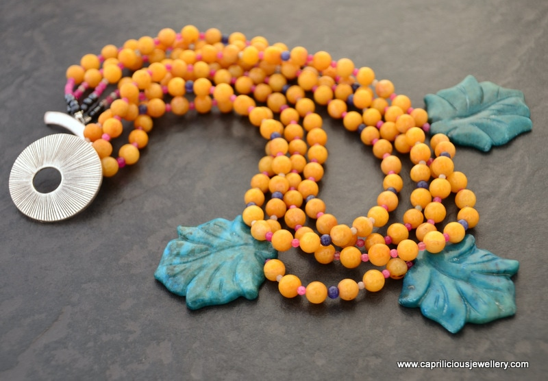 Jade necklace with agate leaves, multistrand, pretty clasp by Caprilicious Jewellery