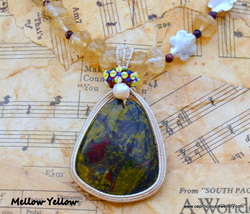Mellow Yellow - Bloodstone and wirework on a Citrine necklace from Caprilicious jewellery