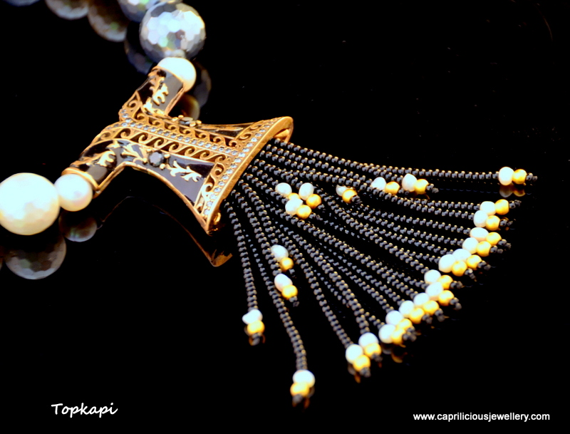 Topkapi - Turkish Kaftan tassel pendant on a faceted shell pearl necklace