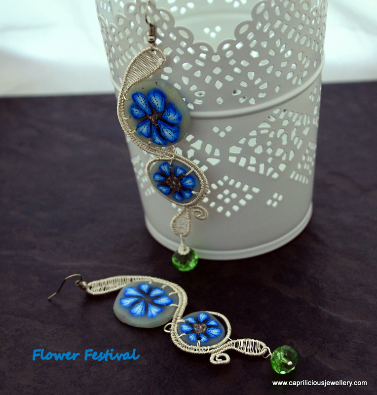 Flower Festival - polymer clay and wire earrings by Caprilicious Jewellery