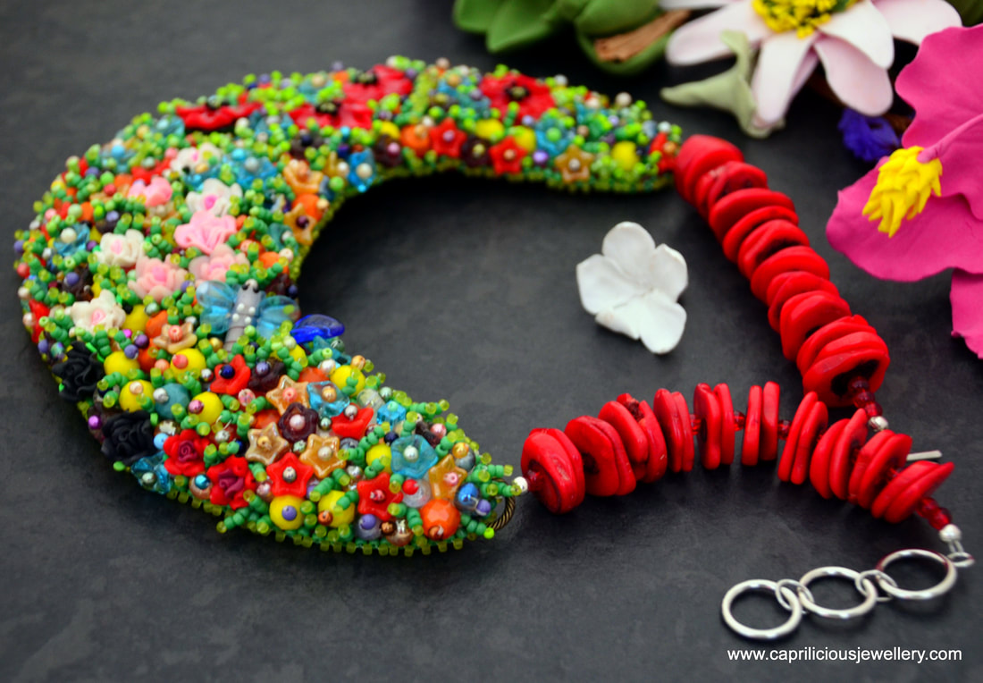 Royal British Legion, poppy appeal jewellery, poppy necklace statement necklace, floral jewellery, bead embroidery