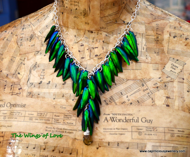 Jewel Beetle wing necklace from Caprilicious Jewellery