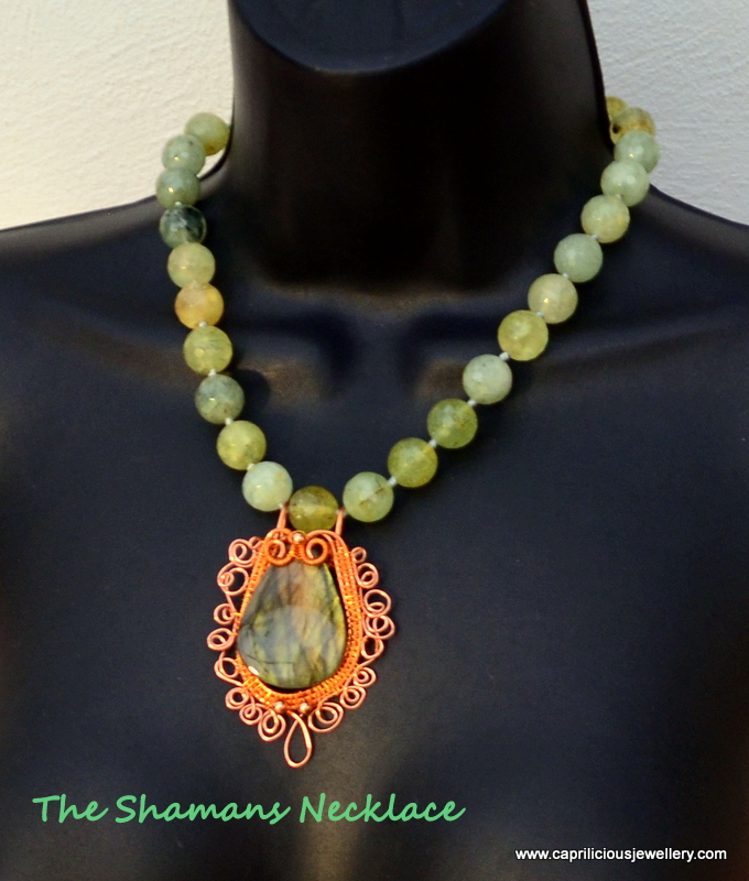 Labradorite and green garnet necklace from Caprilicious Jewellery