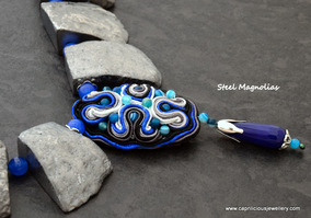 Steel Magnolias - titanium coated agate nugget beads with blue jade and a soutache pillow pendant bead by Caprilicious Jewellery