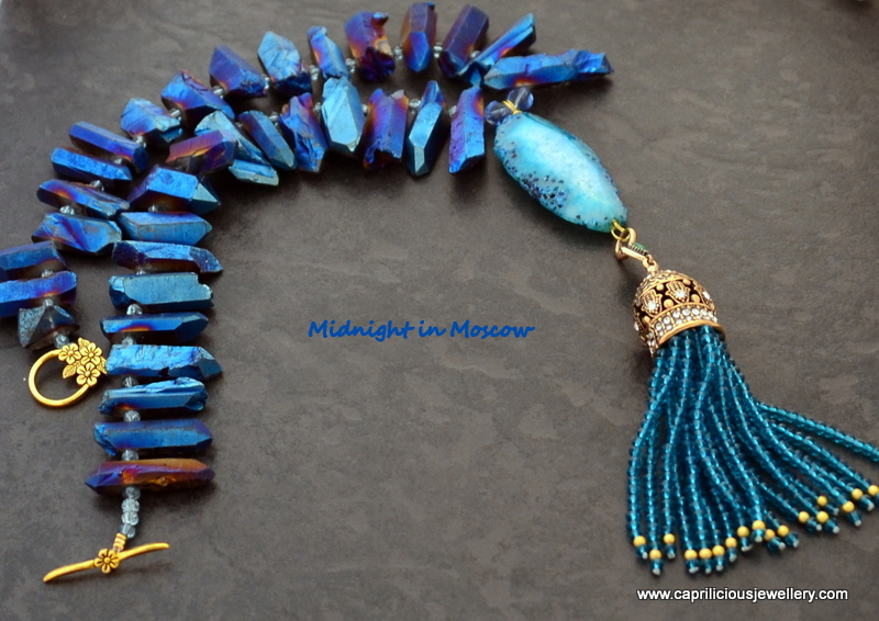 Midnight in Moscow - a Turkish Tassel pendant on a midnight blue titanium coated quartz needle necklace by Caprilicious Jewellery
