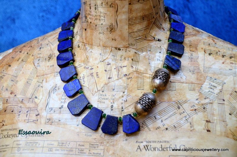 Lapis lazuli and onyx necklace from Caprilicious Jewellery