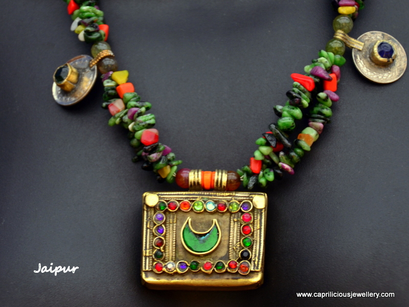 Jaipur - Vintage Kuchi pendant on a ruby zoisite nugget necklace by Caprilicious Jewellery