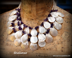Mother of pearl and amethyst  multistrand necklace by Caprilicious