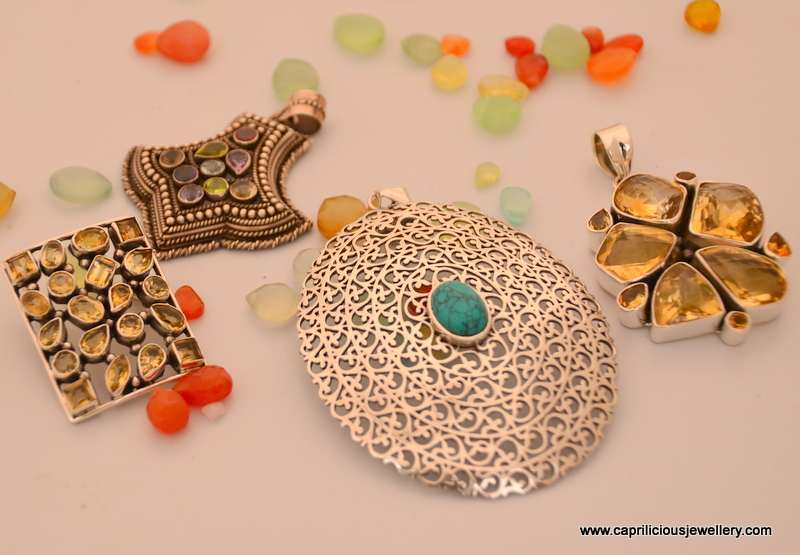 Silver and Gemstone pendants from Jaipur