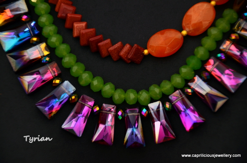 Tyrian - purple crystals in a colourblocking necklace by Caprilicious Jewellery