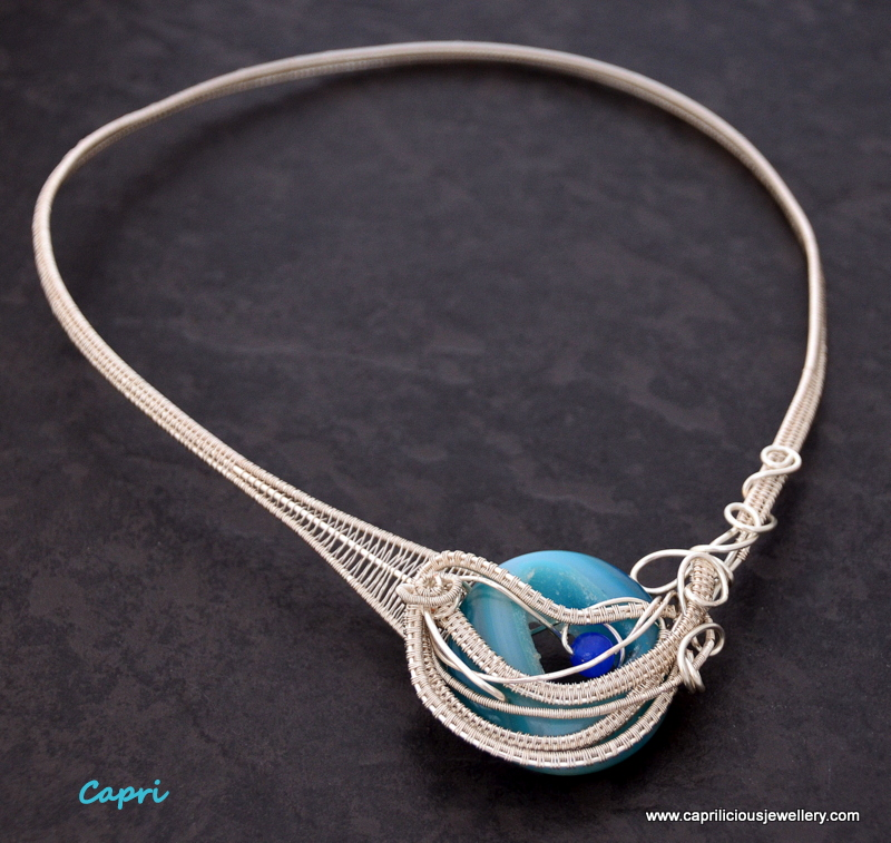 Blue agate druzy wire woven torque necklace by Caprilicious Jewellery