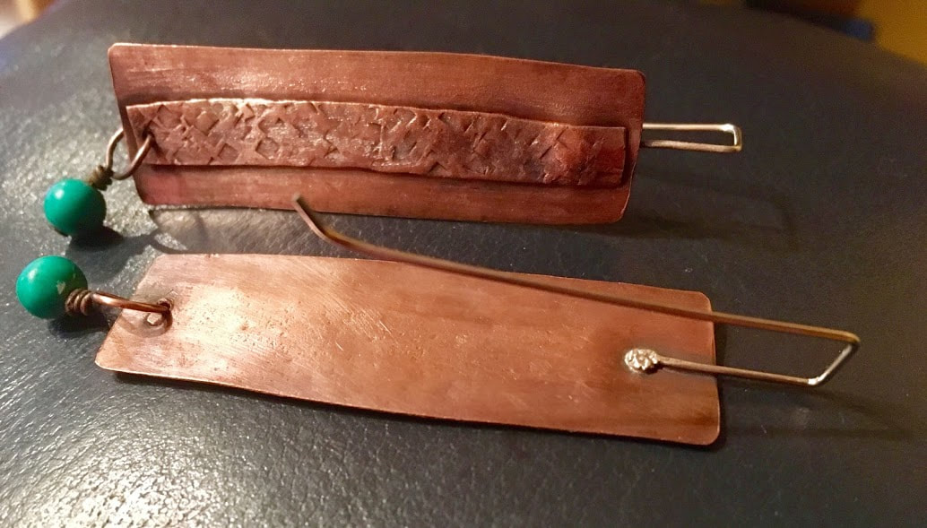 Copper earrings, textured, antiqued with silver ear wires by Caprilicious Jewellery