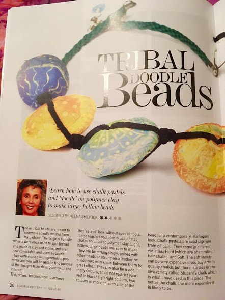 Doodle beads, polymer clay hollow beads, tribal beads tutorial, Bead and Jewellery Magazine, Vol 80, Aug/Sept 2017