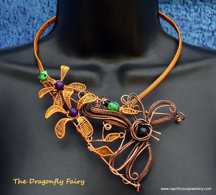 Wire Dragonfly necklace by Caprilicious Jewellery