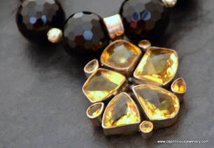 Onyx and topaz, silver necklace by Caprilicious Jewellery