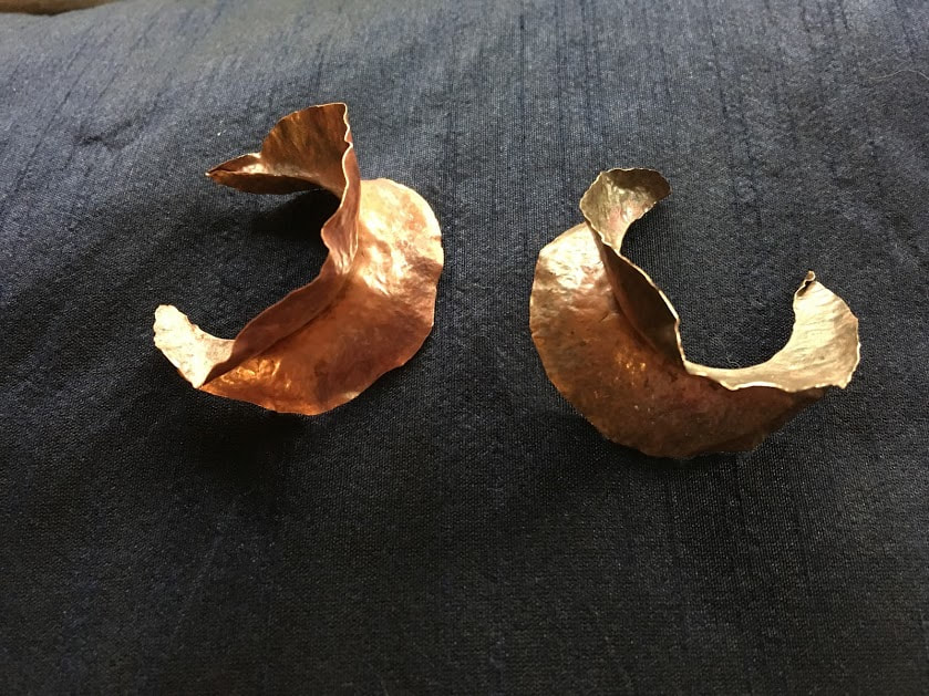 Fold formed Fulani style earring components by Caprilicious Jewellery