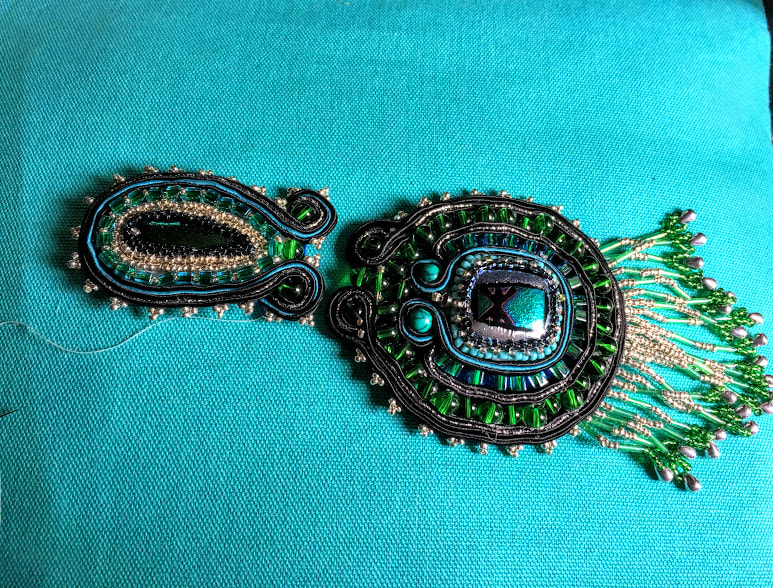 Soutache pendant, WIP, by Caprilicious Jewellery