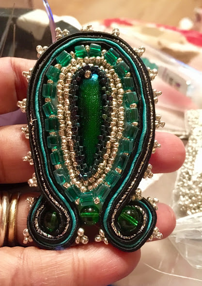 Soutache around a beetle wing, elytra jewellery by Caprilicious