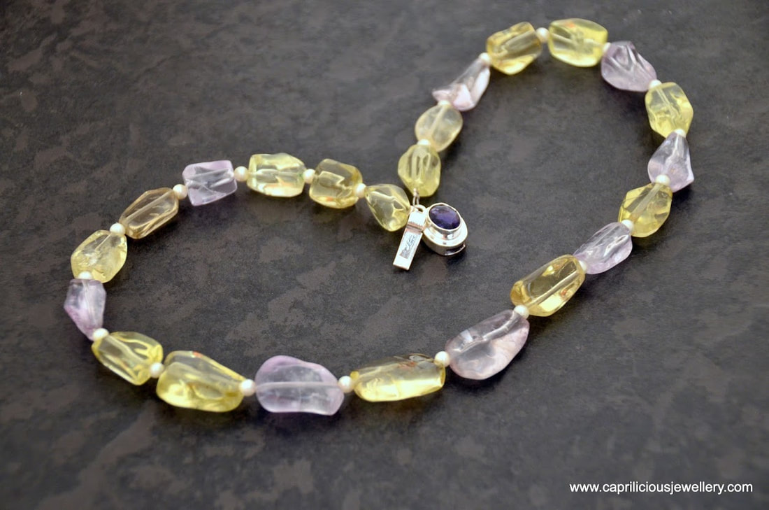 Citrine, amethyst and seed pearl necklace by Caprilicious Jewellery