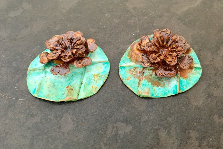 Verdigris, red oxide patina on copper earring components