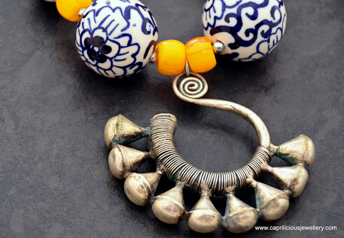 amber, miao, blue and white, daytime necklace