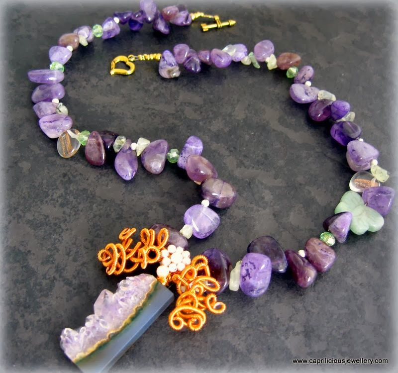 Nile Lily - amethyst and wirework statement necklace
