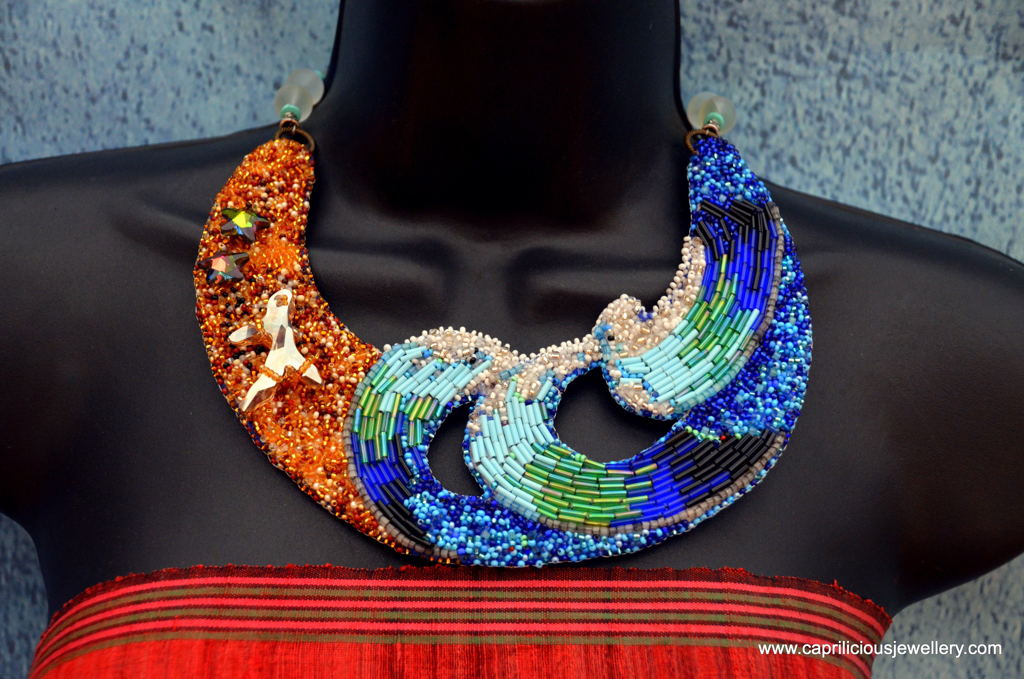 Surfers Haven, seascape necklace, statement necklace, beaded embroidery, Swarovski crystals, starfish jewellery