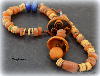Zenflower - a polymer clay necklace made at Caprilicious Jewellery